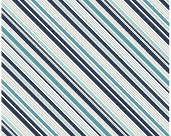 Blue Stripe Fabric - Game Day Fabric by Lori Whitlock and Riley Blake Designs C5894 Navy - Navy Blue Cotton Fabric Cotton by the Yard