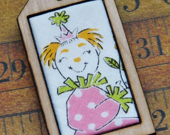 vintage Clown Mini Tag Pendant Necklace - fabric wood