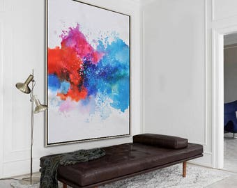 Original contemporary painting on canvas, large vertical abstract painting, hand painted. FREE shipping. By Ethan Hill Art No.H2V