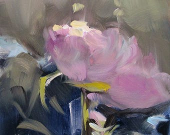landscape , oil painting , pink lily , flora , flora , water lily , dawn , pink , gray , abstract , morning . 6 x 6 , impressionism , art