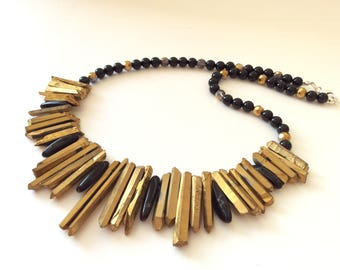 Gold Quartz and Black Agate Spike Cleopatra Necklace