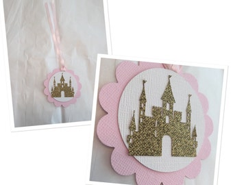 Castle tags,once upon a time tags,princess castle tags, pink and gold tags, vintage party decor, once upon a time party,royal princess party