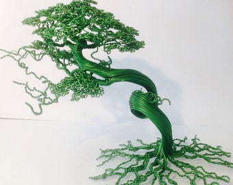 Wire bonsai tree sculpture