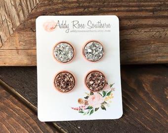 12mm rose gold druzy stud set, druzy studs, druzy earrings, rose gold druzy, bridesmaids earrings