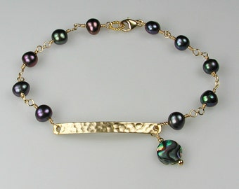 Peacock Pearls and Gold Bracelet Abalone