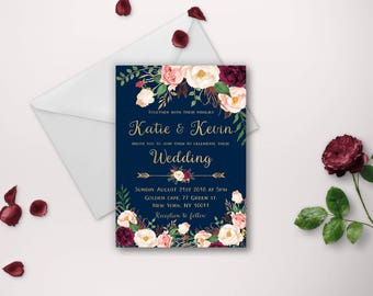 Wedding invitation, wedding invitations, printable invitation, wedding invite, invitation template, navy gold marsala wedding invites diy