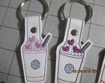 Valentine Hearts Coffee Cup Key Fob  Finished Product