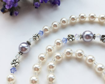 First Communion Rosary, Beautiful Swarovski Periwinkle-Lavender & Pearl, Confirmation Rosaries, Baptism Gift for Girl