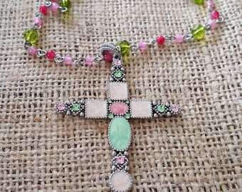 Gorgeous Cross pendant Necklace, Pastel colors of pink and green, Marcasites, Silvertone