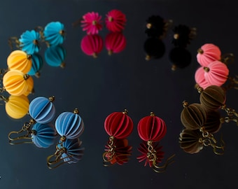 Spherical Paper Earrings, upcycled Earrings, cardstock Earrings, paper jewelry