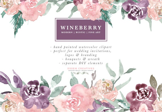 Wine Berry Burgundy Watercolor Flowers Clipart Luxe Fine Art Bouquets Wreath Rustic Boho Save The Date Floral Digital Winter