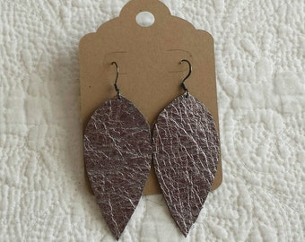 Genuine Leather Leaf Earrings in Metallic Gunmetal