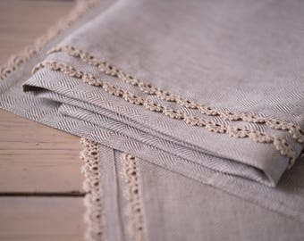 100% linen hand and bath towels with handmade lace trim. Pure linen towels. Romantic linen towels. Natural linen.