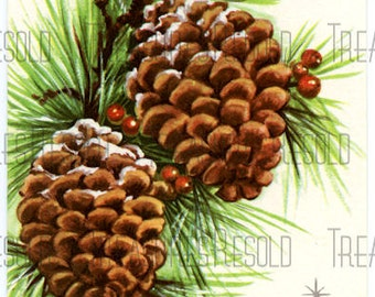 Pine Cone Christmas Card #212 Digital Download