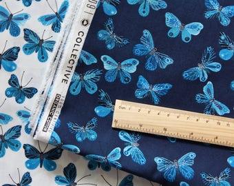"MOODY BLUES by Geninne - Butterflies on NAVY. Cloud 9 Fabric. Organic cotton. Half metre (19.5"")"