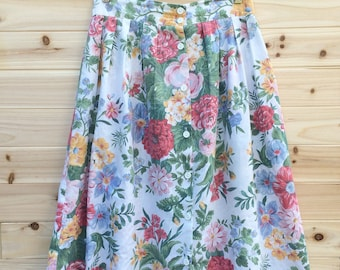 Vintage 80s Maxi Skirt: Floral, button up, cute, hippie, flowy