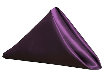 YCC Linen - Purple Napkin for Weddings Pack of 10 | Wholesale Satin Napkins