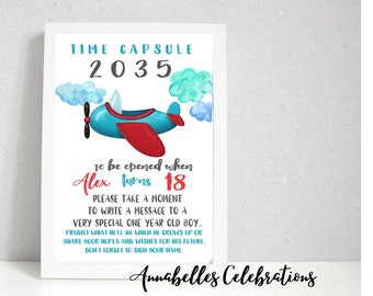 Plane - First Birthday Keepsake Time Capsule & Cards for Guests  - < 1st Party Celebration Decoration Print - Boys Aeroplane