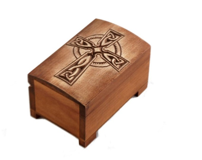 wooden historical jewelry box with celtic cross engraving