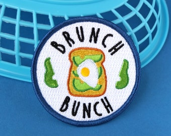 Brunch Patch, Iron on Patch, Brunch Bunch Patch, Avocado, Egg, Toast, Team Patch, Breakfast, Lunch, Blue, White, Green, Avocado on toast