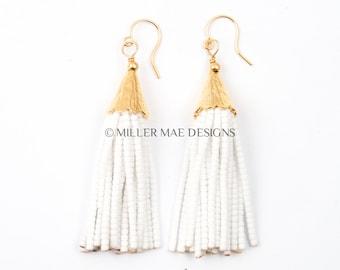 White Beaded Mini Tassel Earrings | Short Tassel Earrings | Bohemian Statement Earrings |  Seed Bead Earrings | White Tassel Earrings