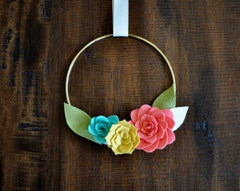 """Felt Succulents Wreath - 7"""" - Pink Yellow and Teal - Easter Gift - Easter Decor - Spring Decor - Birthday Gift for Her - Easter Basket"""