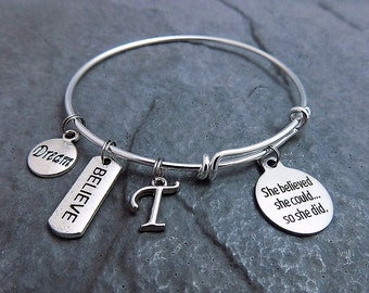 Graduation Gift for Her She Believed She Could So She Did Bracelet Charm Bracelet Personalized Monogram Expandable Bangle Jewelry