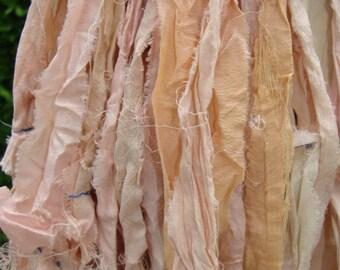 Beautiful Pinks Some Peach And Cream Colored Sari Ribbon Yarn 100 Gram Skein 70 To 75 Yards