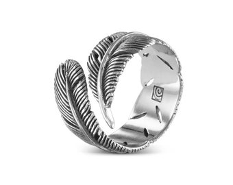 Feather Ring - Antique Silver Feather Ring - Silver Feather Bypass Ring