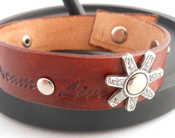 Believe, Dream, Live, Light Brown, Inspirational Quote, Hand Stamped, Genuine Leather, Cuff, Riveted Gear, Adjustable Bracelet, Wristband