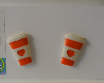 Small Orange, Green or Purple Coffee Cup with Heart Post Earring