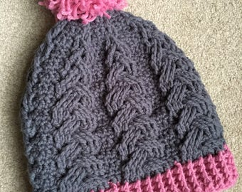 Cabled Crochet PomPom Hat