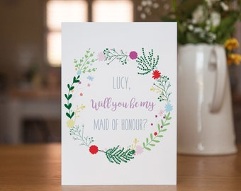 Personalised Floral Will You Be My Maid of Honour Wedding Card