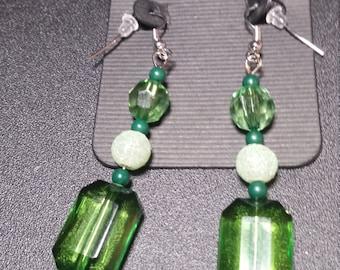 Green Emerald Dangle Earrings in Silver