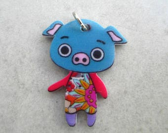 Pig pendant acrylic printed on front & back