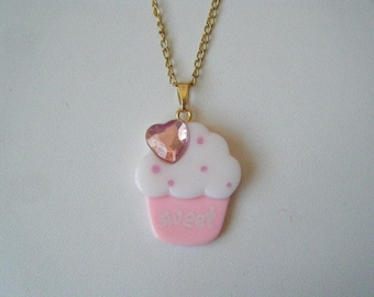 ♥ cupcake pendant Pink ♥
