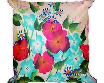 Painted Flowers Pillow