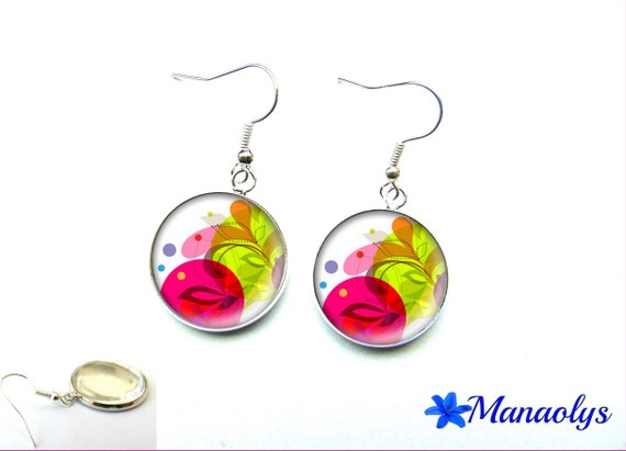 Multicolored patterns 2030 glass cabochons earrings
