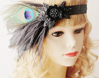Black Feather Headband Flapper Girl Headband Ostrich Feather Headband Beads Beaded Flower Peacock Headband - Great Gatsby 20s Inspired
