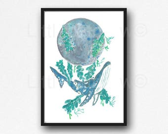 Whale Print Whale Moon Watercolor Painting Print Seaweed Whale Art Nautical Print Whale Bathroom Wall Art Wall Decor Beach Art Unframed