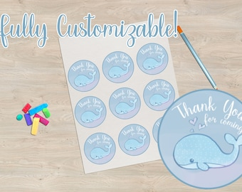 Baby Shower Stickers Whales - Thank You, Invitation, Save the Date