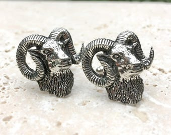 Wild Sheep Head Cufflinks. Antiqued Silver Pewter Mouflon Sheep Cufflinks