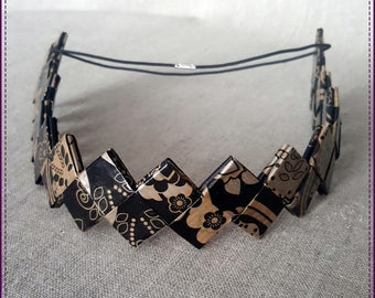 Headband, a band of recycled paper, laminated, black and Brown