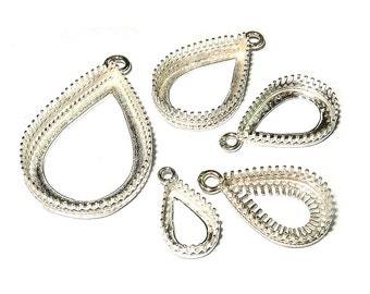 925 Sterling Silver Bezel Cups Pear shapes in different sizes