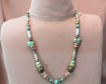 "Turquoise Brass Pink Howlite 27"" Long Beaded Necklace Handmade  Unique OOAK"