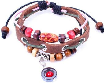Red Bead Leather Fashion Bracelet Gift-b80