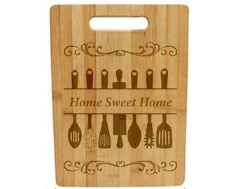 Laser Engraved Cutting Board - 044 - Kitchen Utensils with Home Sweet Home