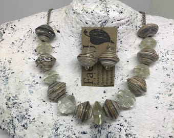Recycled clear glass and black and white paper bead necklace and earrings set.