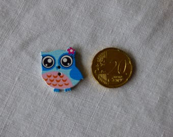 Wood OWL Blue rose button