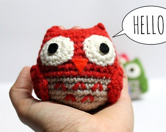 Super Soft Amigurumi Owl Crochet Toy Red Orange Green Yellow Lillac